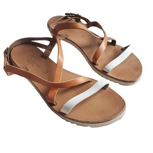 JOIE Sandals Socoa Leather Brown White Buckels